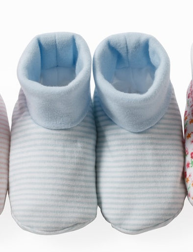 Blue Fine Stripe Baby Booties