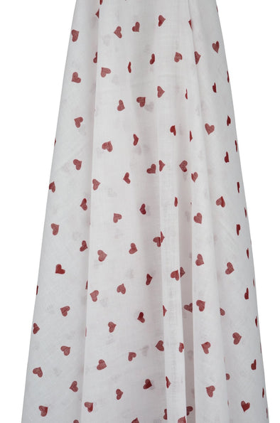 White Muslin with Red Hearts