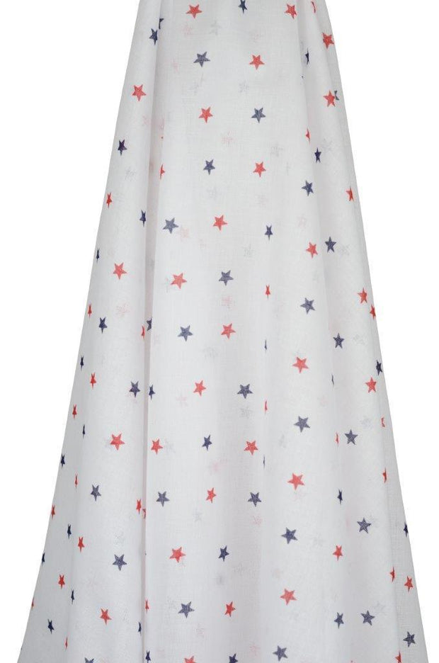 Red & Navy Stars Muslin Wrap