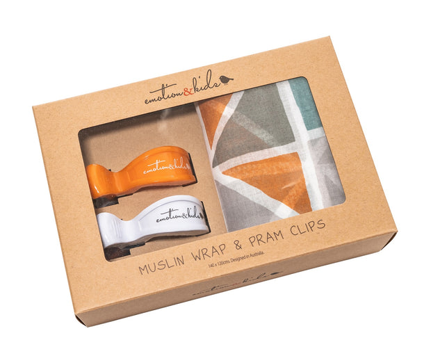 Multi Triangle Muslin with Orange & White Pram Clips Pack