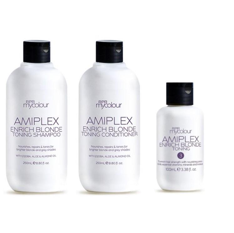 Amiplex RPR Amiplex Enrich Blonde Shampoo Conditioner and Stage 3 Treatment Kit