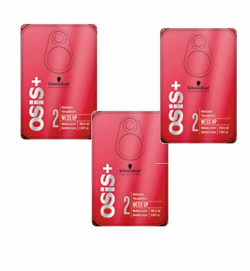 iaahhaircare,Schwarzkopf Osis+ Mess Up Matt Gum Medium Control 100ml x 3 Styling Matte Paste,Styling Products,OSIS Schwarzkopf