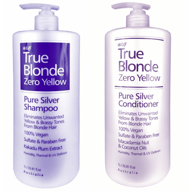 iaahhaircare,Hi Lift Zero Yellow True Blonde Zero Yellow Pure Silver 1lt Duo Pack,Shampoo and Conditioner,Hi Lift