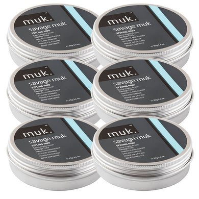 iaahhaircare,Six Pack SAVAGE MUK STYLING MUD 95GR by MUK hard hold,Styling Products,Savage Muk