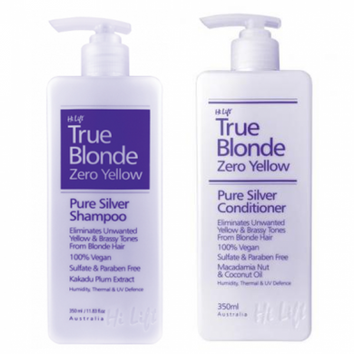 iaahhaircare,Hi Lift Zero Yellow True Blonde Zero Yellow Pure Silver 350ml Duo Pack,Shampoo and Conditioner,Hi Lift