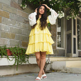 Yellow Dress With Chiffon Sleeves