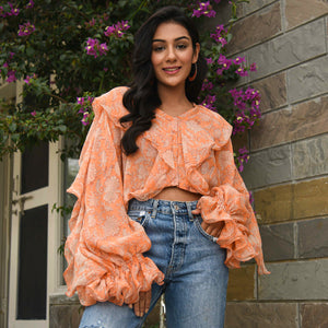 Dusty Orange Chiffon Top