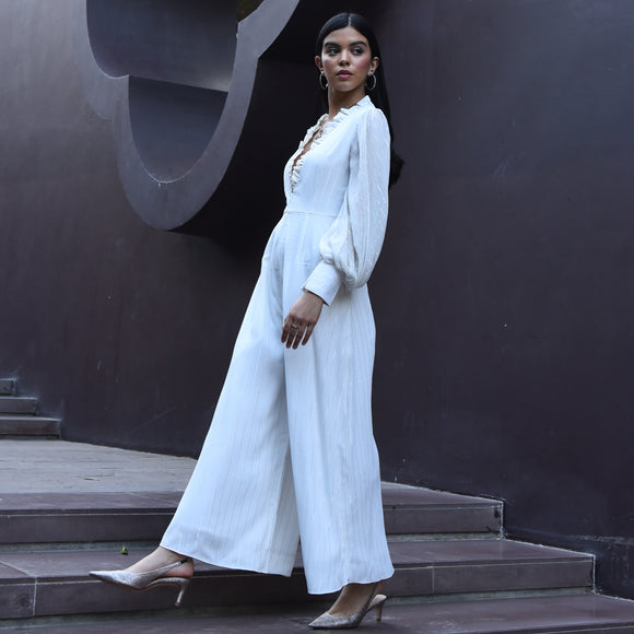 White Lurex Jumpsuit