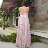 Pink Floral Chiffon Dress