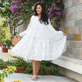 Lotus Bud Cotton Tier Dress