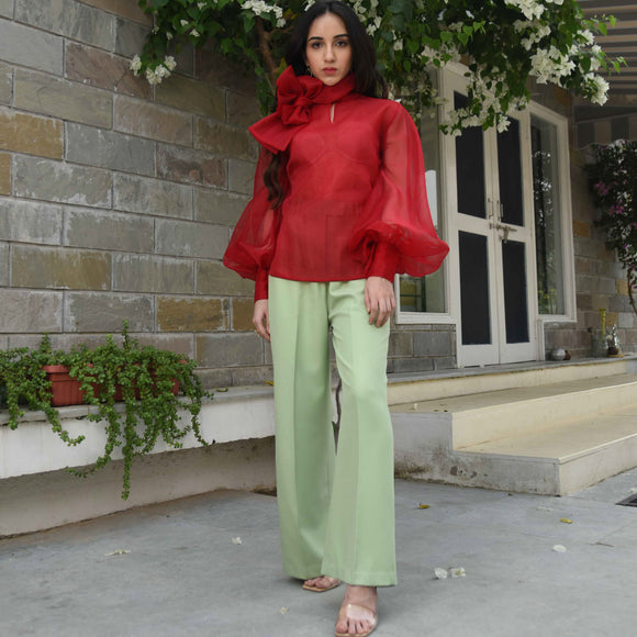 Green Red Pants Top Set