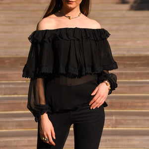 Black Chiffon Lace Top