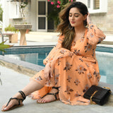 Georgette Orange Floral Dress