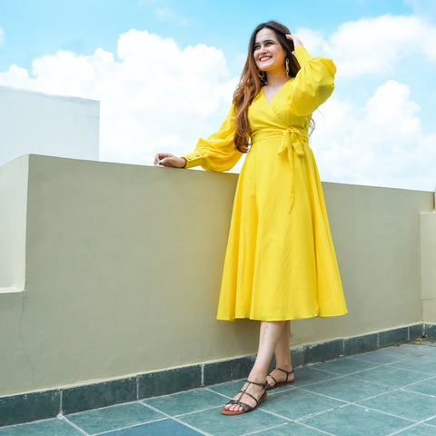 Empire Yellow Wrap Dress
