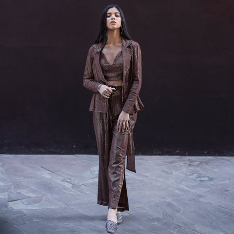 Brown Lurex Blazer Set