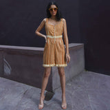 Tan Stripes Cotton Romper