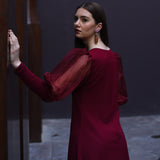 Maroon Organza Sleeves Dress
