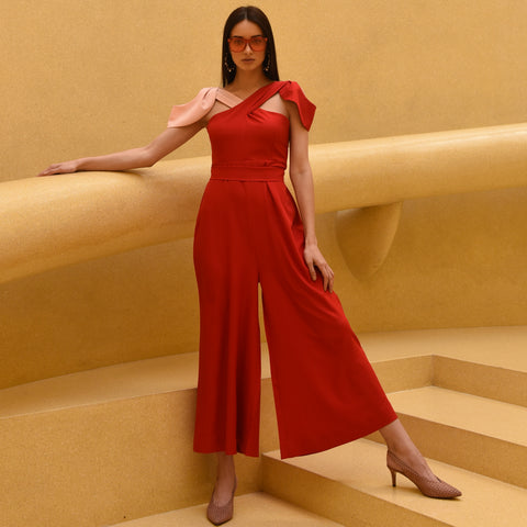 Red Pink Flap Jumpsuit