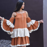 Rust Ecru Fringe Cotton Dress