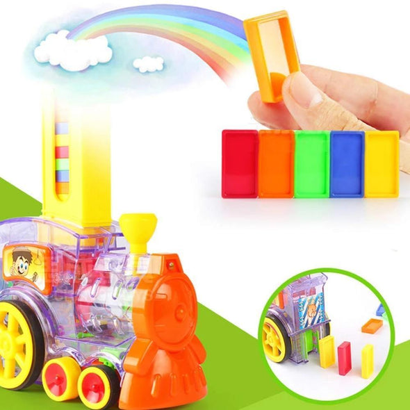 Domino Train Toy Set, 100pcs Colorful Domino Game Building Blocks Car Stacking Toy