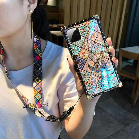 High Quality Bohemian Lanyard Ring Phone Case For iPhone Samsung Huawei