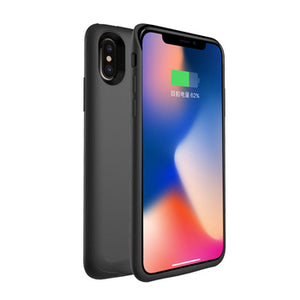 Battery Cover 4000mah Battery Charging Case For Iphone X - Black