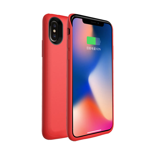 Battery Cover 4000mah Battery Charging Case For Iphone X - Red