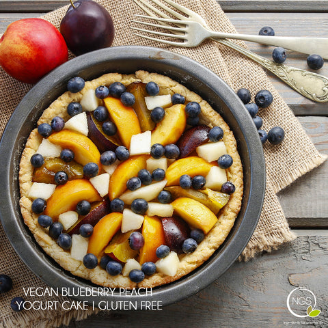 Vegan Blueberry Peach Yogurt Cake | Gluten Free