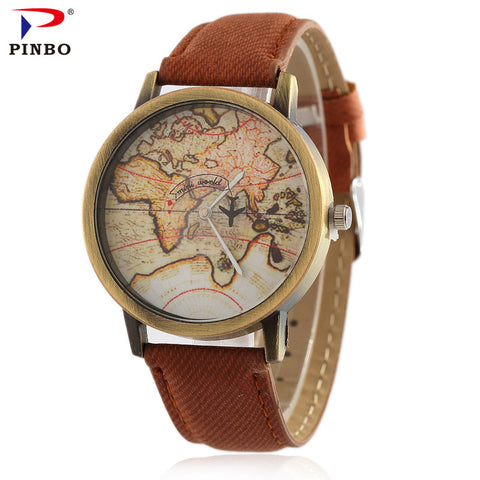 Brown Strap Map Watch