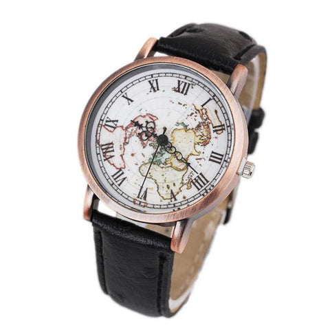 Retro Women's World Map Watch