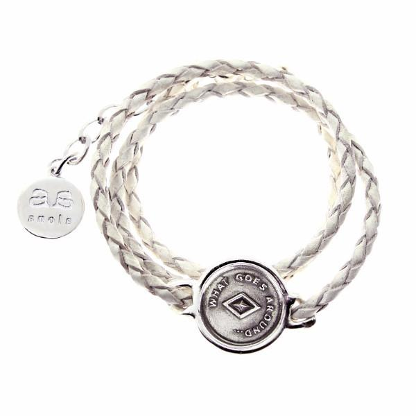 JOSEPHINE Bracelet - Silver with White Leather - Alona  - 1