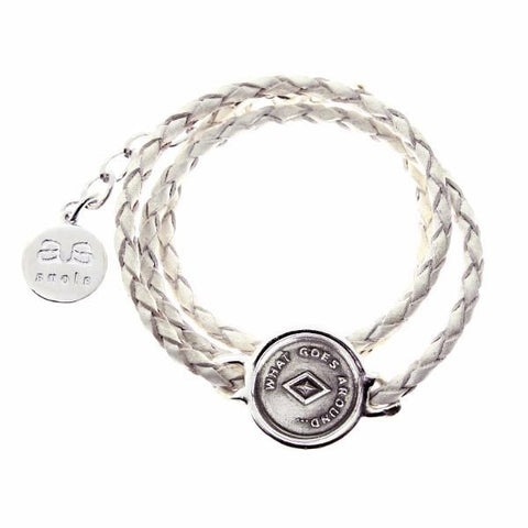 JOSEPHINE Bracelet - Silver with White Leather