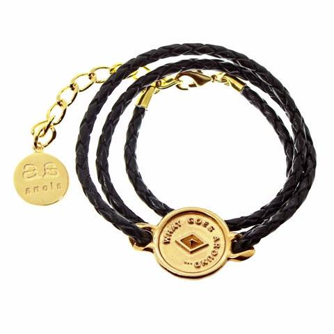 JOSEPHINE Bracelet - Gold with Black leather - Alona  - 1