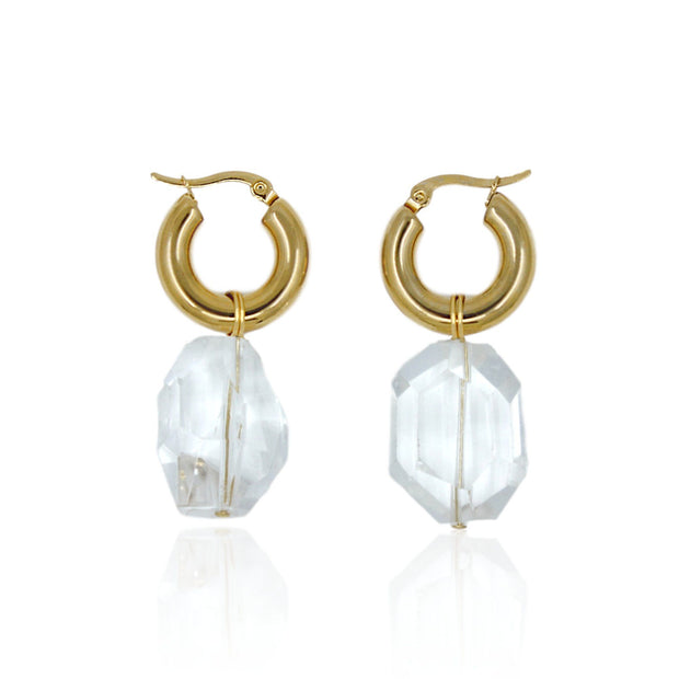 CANDICE Earrings - Gold with Quartz