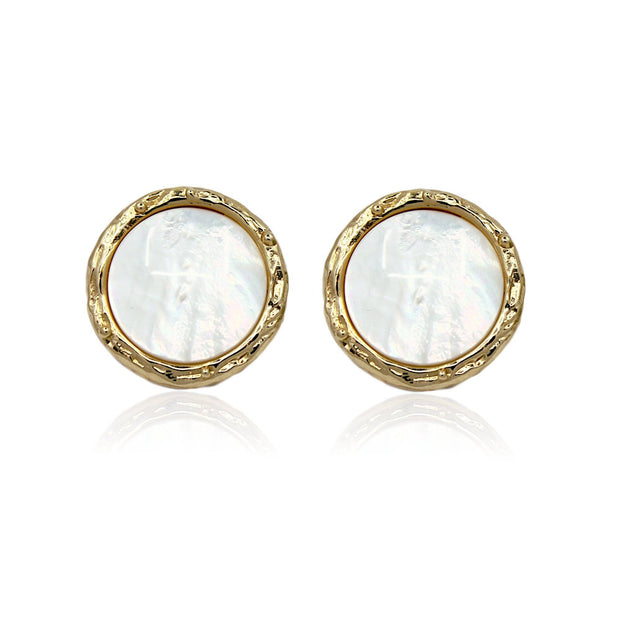 CINDY Stud Earrings - Gold With Mother Of Pearl