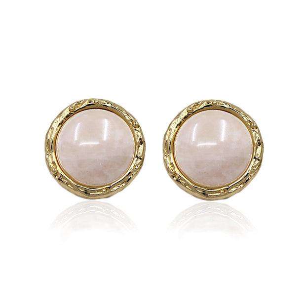 CINDY Stud Earrings - Gold With Rose Quartz