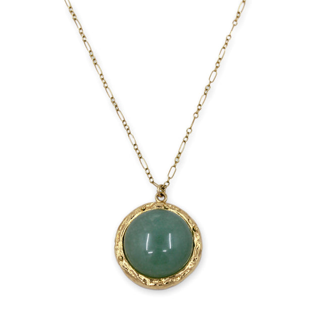 CINDY Necklace - Gold with Green Aventurine