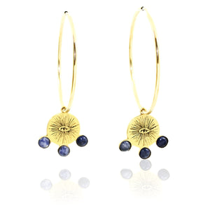 EYENAMOUR Hoop Earrings - Gold and Sodalite - Alona  - 1