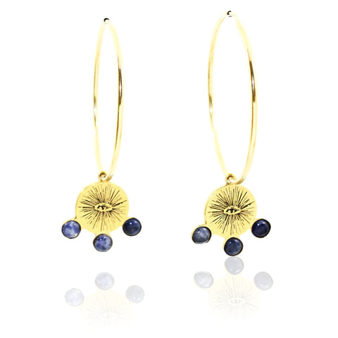 EYENAMOUR Hoop Earrings - Gold and Sodalite