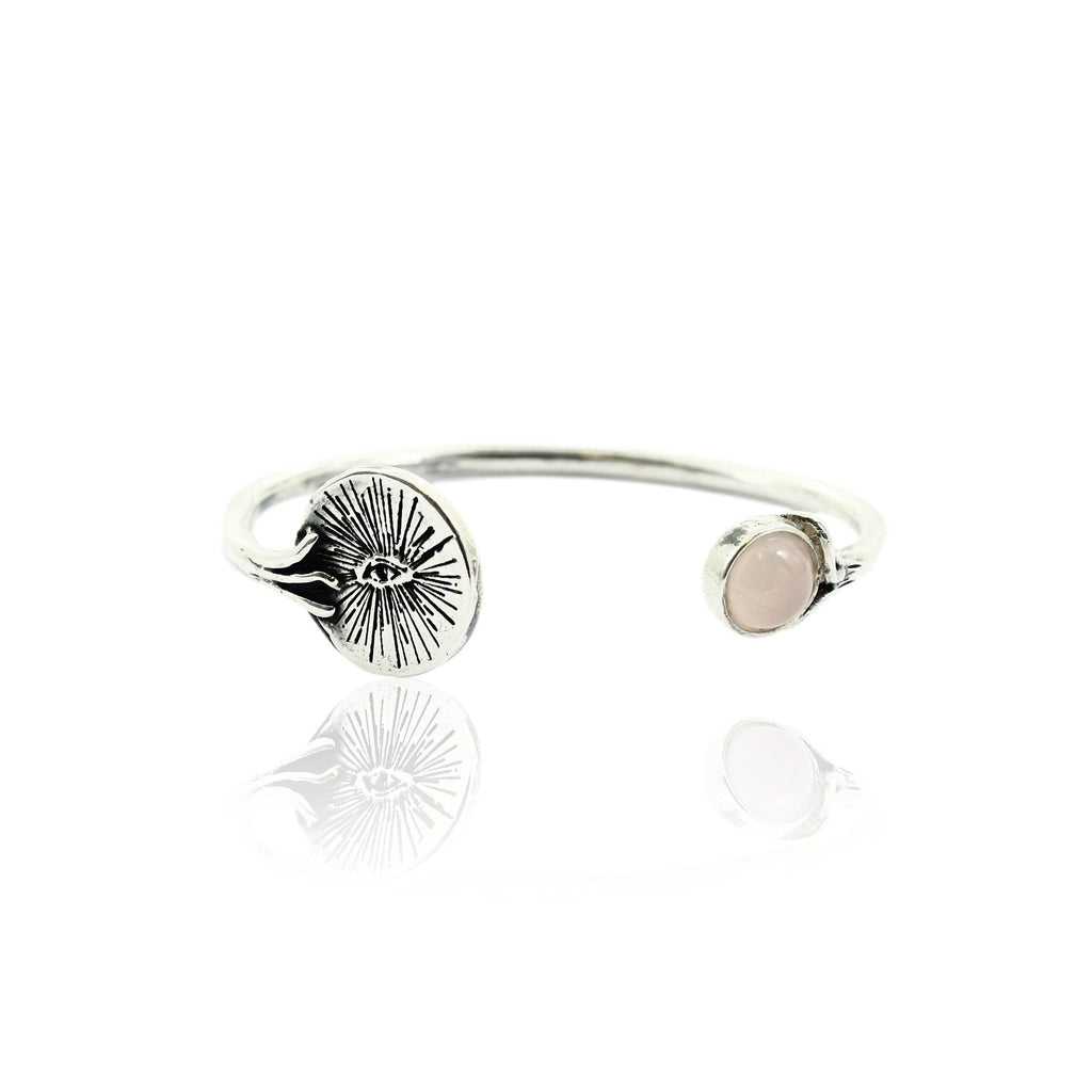 EYENAMOUR Bangle - Silver and Rose Quartz - Alona  - 1
