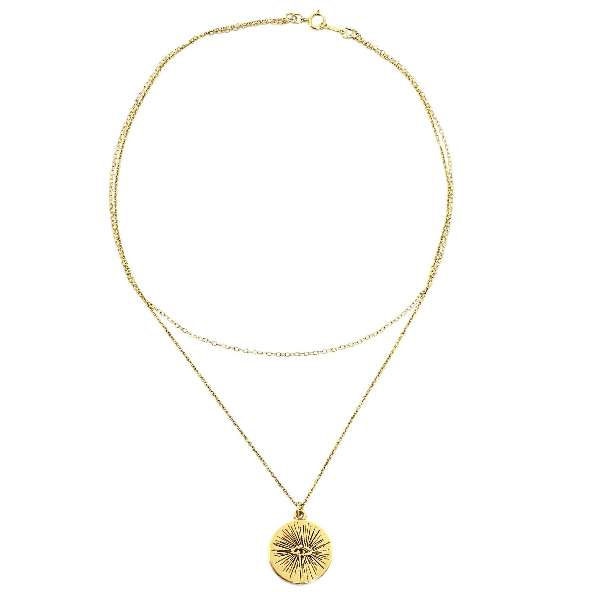 necklace auree westbourne pendant gold with yellow disc jewellery engraved initial