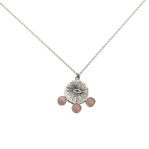 EYENAMOUR Necklace - Silver with Rose Quartz