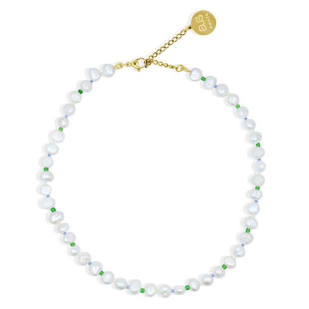 FLORA Pearl Necklace - Cream, Green and Blue