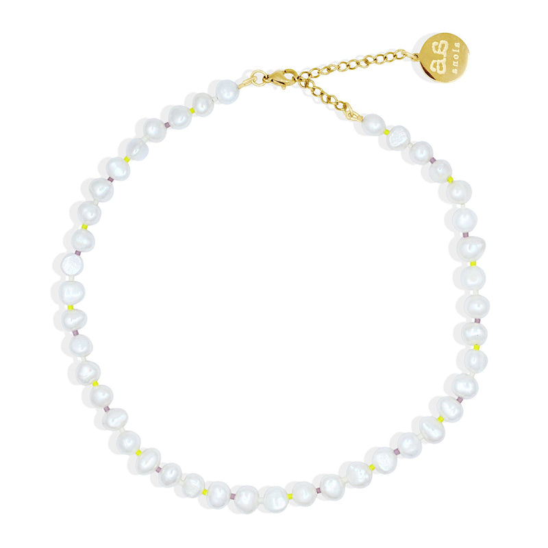 FLORA Pearl Necklace - Cream, Lilac and Yellow