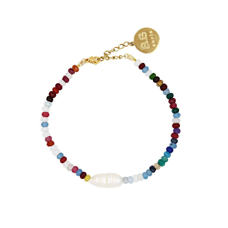 FORMENTERA Anklet - Jade, Pearl and Gold