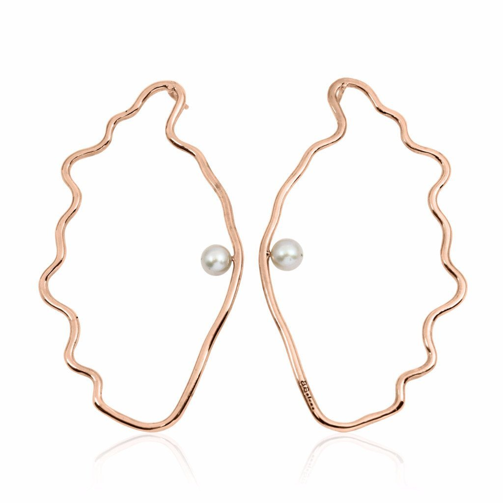 OSTREIDAE Earrings - Rose Gold with Grey Pearl