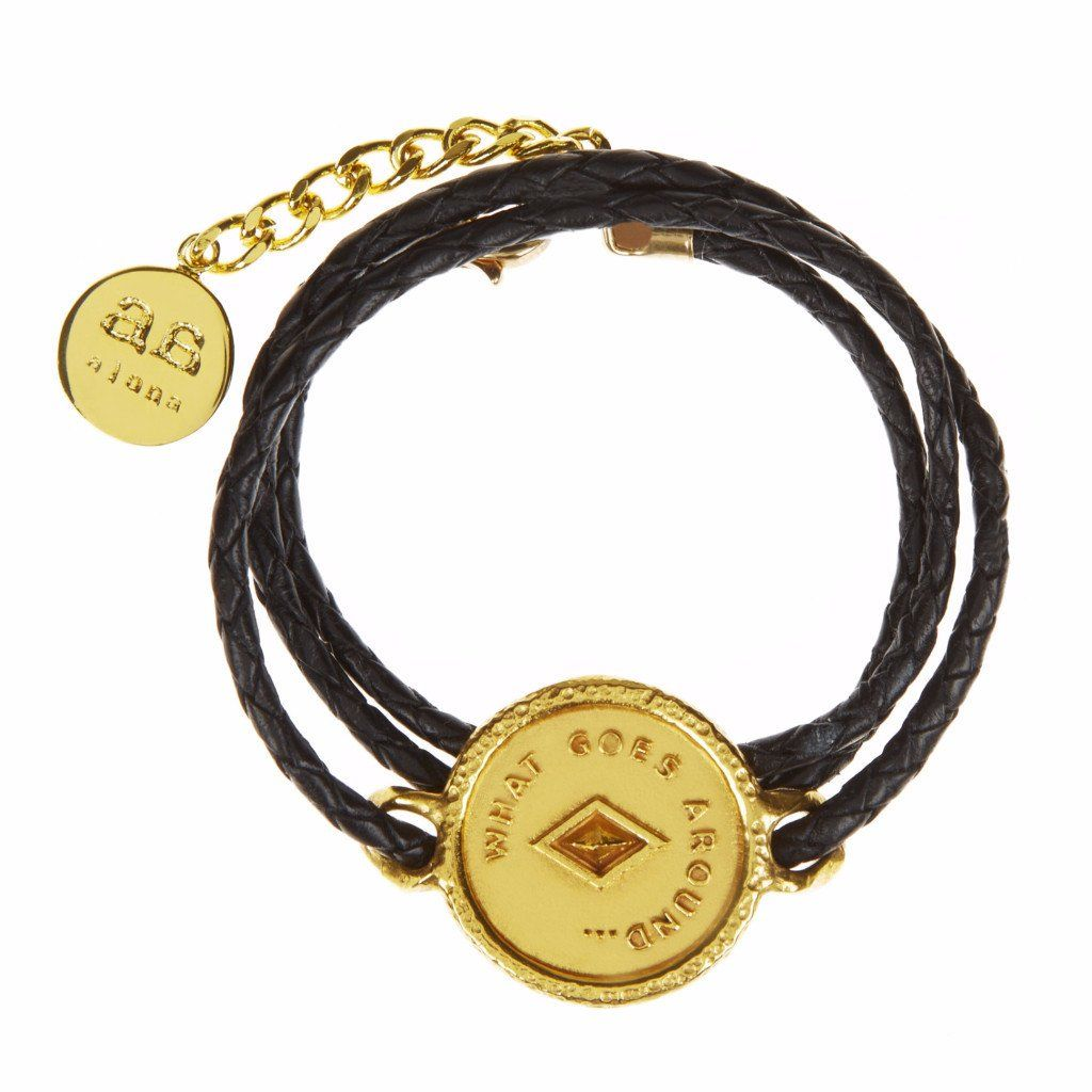 JAMIE Bracelet - Gold with Black leather - Alona  - 1