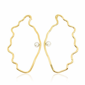 OSTREIDAE Earrings - Gold with White Pearl