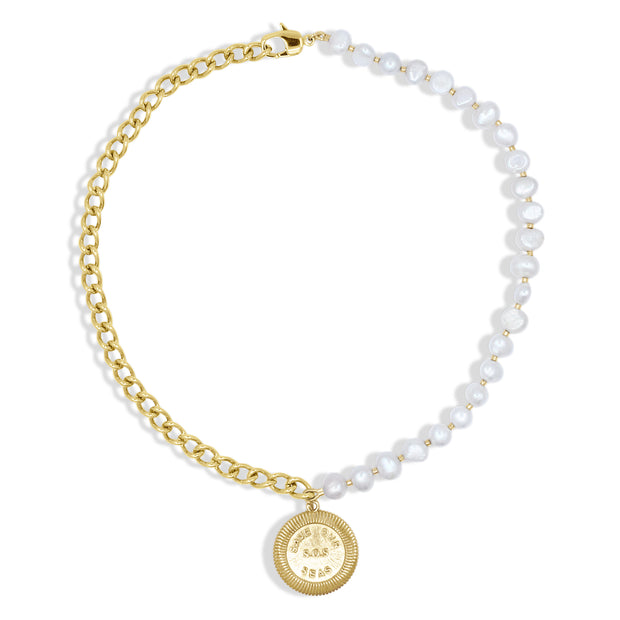Coraline Necklace Pearl And Gold Alona