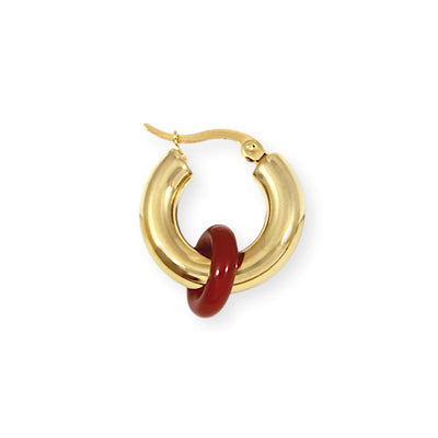 SIDEKICK Hoop Earring - Gold with Cornelian